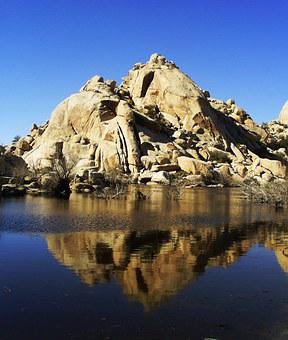 Joshua Tree National Park, Boulders, Rocks, Water, Pond