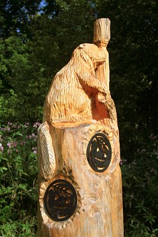 Carving, Wood Carving, Beaver, Mammal, Animal, Canada