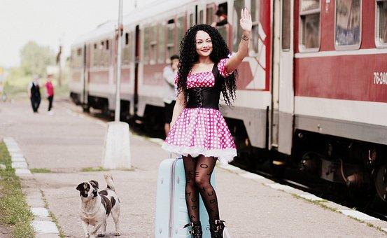 Girl, Train Station, Baggage, Dog, Peron, Dress