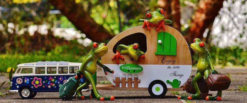 Frogs, Bulli, Vw, Caravan, Funny, Travel, Luggage