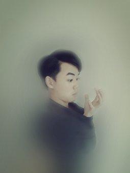 Portrait, Fuzzy, Creative, Afraid, Male, People