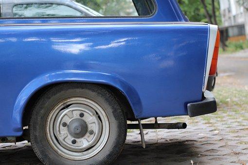 Blue, Trabant, Car, Old, Germany, Retro, Gdr, Side Part