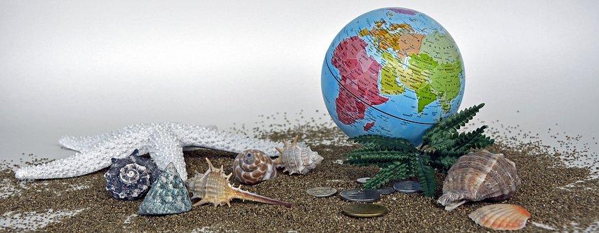Globe, Travel, Vacations, Sand, Starfish, Mussels