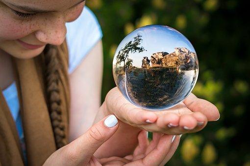 Glass Ball, Fortune Teller, Hand, Finger, Palm