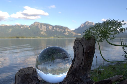 Globe Image, Glass Ball, Ball, Lake, Lake Forggensee