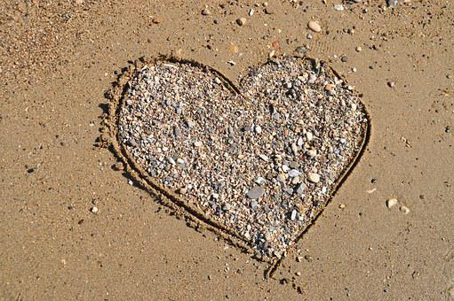 Heart, Sand, Stone Heart, Vacations, Love, Beach