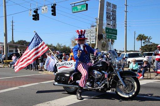 Uncle Sam, Volunteers, Parade, Fairtax, Motorcycle