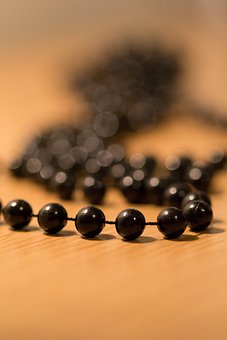 Beads, Pearl, Necklace, Black, Plastic Beads, Fuzzy