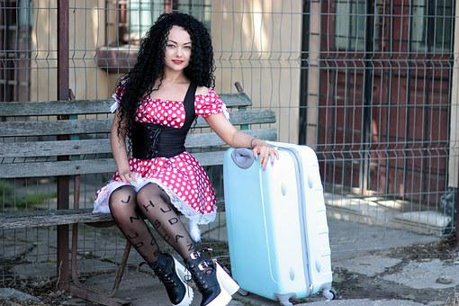 Girl, Suitcase, Bank, Calling, Dress, Polka Dots, Red