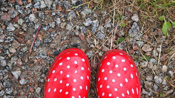 Rubber Boots, Dots, Red, Gravel, Country