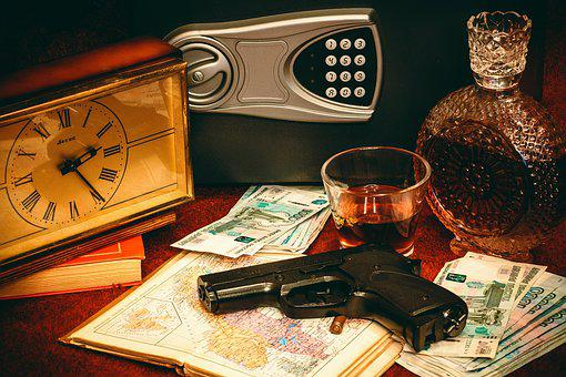 Safety Deposit Box, Gun, Money, Clock, Ruble