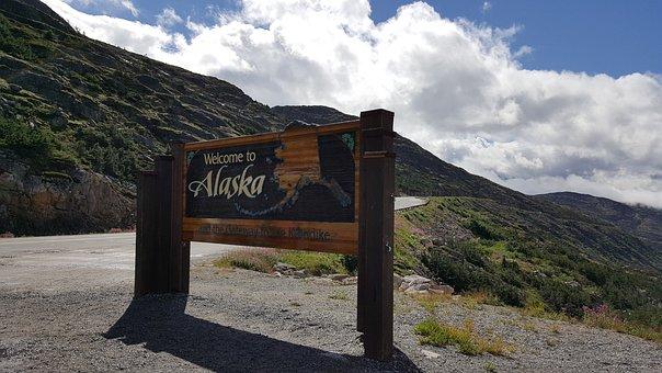 Sign, Alaska, Welcome, Usa, America, Road, State