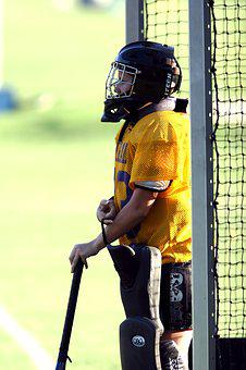 Field Hockey, Goalie, Goal Tender, Net, Helmet, Stick