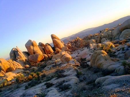 Joshua Tree National Park, Boulders, Rocks, Sunset