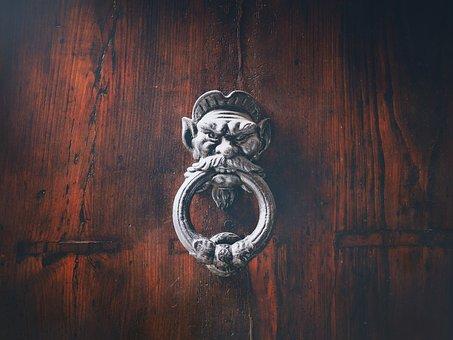 Door, Thumper, Handle, Old, Doorknocker, Wood