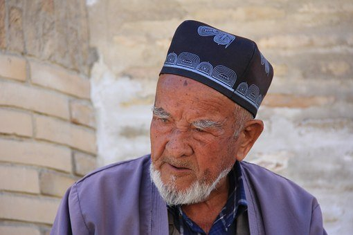 Elderly, Uncle, Men's, Uzbek, Tradition, Muslim, Beard
