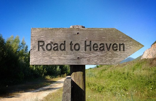 Road To Heaven, Wooden Sign Board, Way, Direction