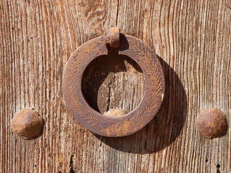 Aldaba, Door, Rural, Old, Crafts, Cast Iron, Open
