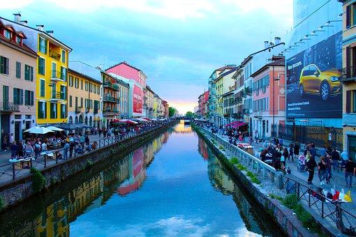 Milan, Navigli, River, Center, Italy, Landscape, Town
