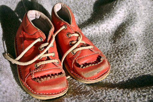 Children's Shoe, Child's Shoe, Red, Old, Memory
