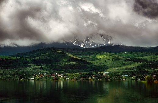 Colorado, Sunset, Dusk, Mountains, Sky, Clouds, Snow