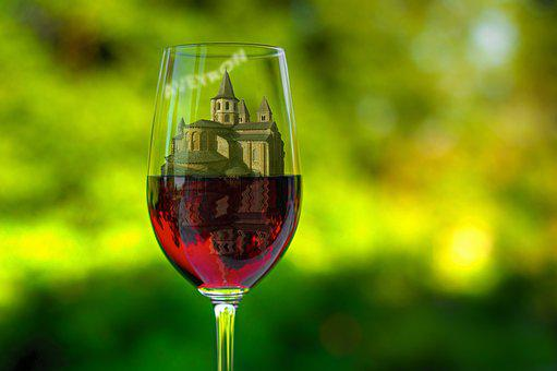 Aveyron, Glass, Wine, Abbey, Conques, Mounting