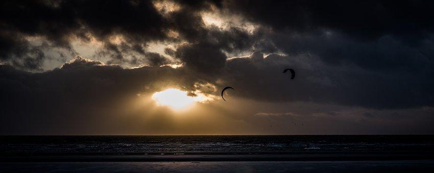 Water, Sea, North Sea, Nature, Sky, Clouds, Dark Clouds