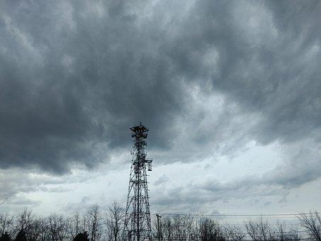 Storm, Thunderstorm, Electric Pole, Dark