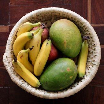 Fruits, Mangoes, Banana, Food, Ripe, Organic, Fresh