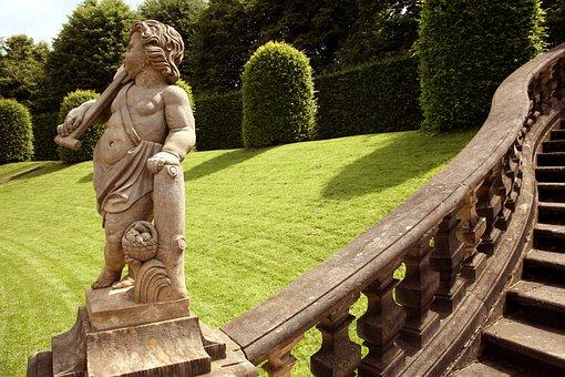 Germany, Castle, Park, Green, Sculpture