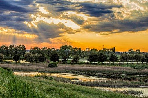 Delta Po, Po River, River, Comacchio, Laguna, Italy