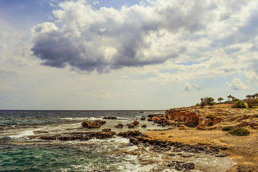 Coast, Sea, Sky, Clouds, Scenery, Nature, Kapparis
