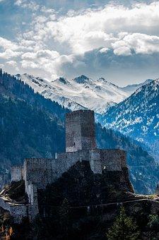 Zil Castle, Castle, Forest, Snow, Landscape, Greens