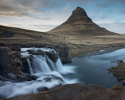 Iceland, Kirkjufellsfoss, Goldenhours, Longexposure
