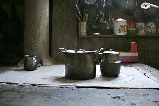 Kitchen, Old, Pots, Comal