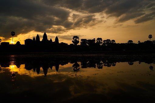 Cambodia, Siem Reap, On, Old, Sunrise, Solar