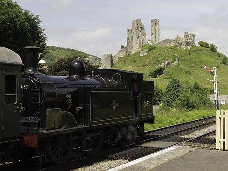 Steam Locomotive, England, Burgruine, Corfe Castle