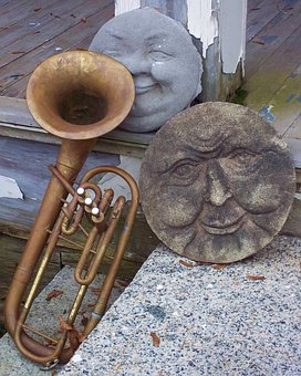 Sculpture, Faces, Old, Stone, Ancient, Brass, Trumpet