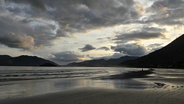Beach, Cloudy, Grey, Twilight, Sunset, Ocean, Sand