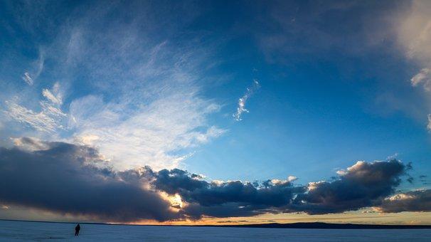 Man, Sunset, Nature, Beach, Silence, Light, Evening