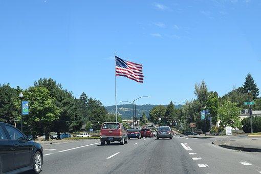 Flag, Portland, Oregon, Usa, Road, Cars, Sky, Travel