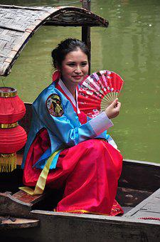 Chinese Woman With Fan, Chinese Woman On Boat