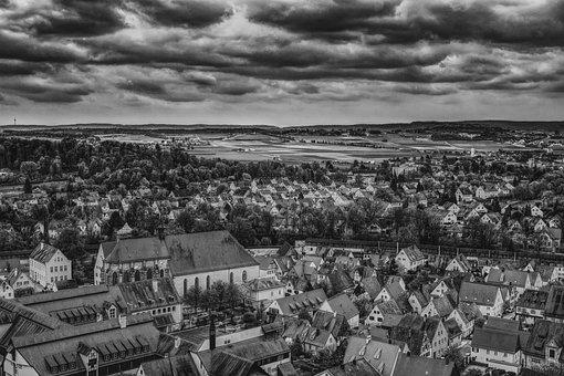 Dramatic, Nördlingen, City, Homes, Truss, Architecture