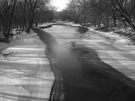 Creek, Frozen, Freeze, River, Stream, Cold, Winter, Ice