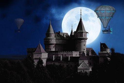 Moon, Castle, Balloon, Gondola, Full Moon, Mystical