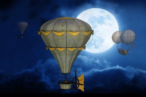 Moon, Sky, Balloon, Gondola, Full Moon, Mystical, Night