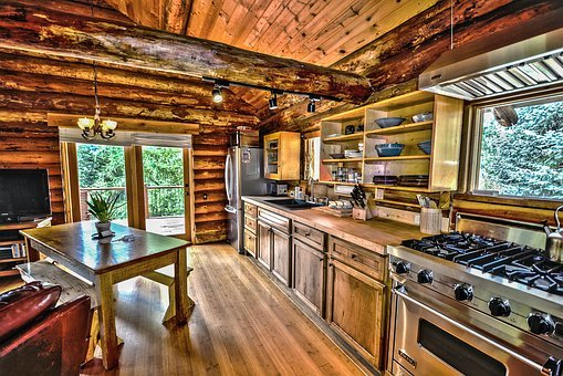Hdr, Logs, Log Home, Log Cabin, Kitchen, Wood, Country