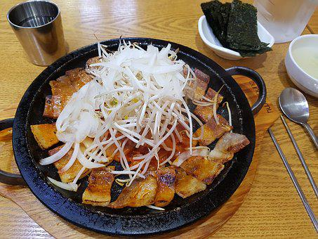 Samgyupsal, Pork, Kimchi, Barbecues, Meat, Grilled