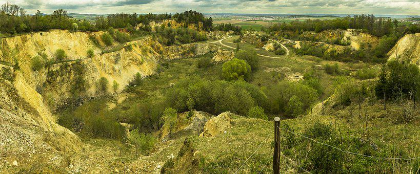 Panorama, Gravel Pit, Sand, High Resolution, Sky, Trees