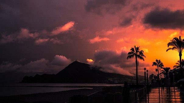 Spain, Beach, Sea, Ocean, Sunset, Mountains, Coast